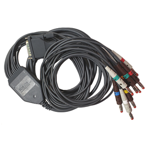 Patient cable 10-lead AHA, anthracite, 2m, banana, For MS-2010, MS-2015